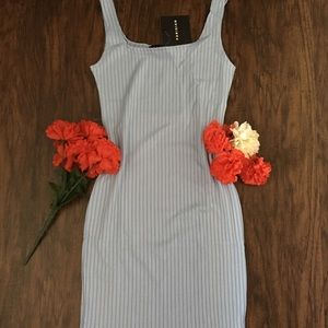 Scoop Neck Rib Knit Powder blue Bodycon mini Dress